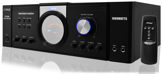 Pyle - PT1100 , Sound and Recording , Amplifiers - Receivers , 4-Ch. Home Theater Power Amplifier System, Hybrid Stereo Receiver with Audio Speaker Selector (1000 Watt)