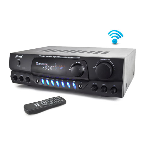 Pyle - PT265BT , Marine Audio & Video , Amplifiers , 200 Watt Bluetooth Digital Receiver Amplifier with AM/FM Radio & Two Microphone Inputs for Karaoke Mixing