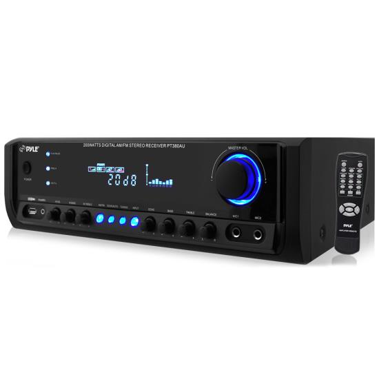 Pyle - PT380AU , Sound and Recording , Amplifiers - Receivers , 200 Watt Digital Home Theater Stereo Receiver, Aux (3.5mm) Input, MP3/USB/AM/FM Radio, (2) Mic Inputs
