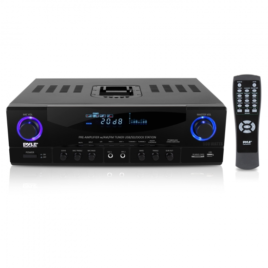 Pyle - PT4601AIU , Sound and Recording , Amplifiers - Receivers , Home Theater Receiver System - Hybrid Stereo Pre-Amplifier with AM/FM Radio, USB/SD Reader, 30-Pin iPod Dock (500 Watt)