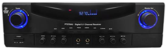Pyle - PT570AU , Sound and Recording , Amplifiers - Receivers , 5.1 Channel 350 Watt Amplifier Receiver with Built-In AM/FM Radio, USB Flash & SD Card Readers