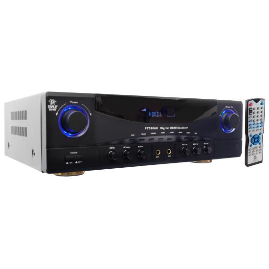 Pyle - PT590AU , Home Audio / Video , Active Electronics , 5.1 Channel 350 Watts Built-In AM/FM Radio/USB/SD Card HDMI Amplifier Receiver W/3D Pass-Thru