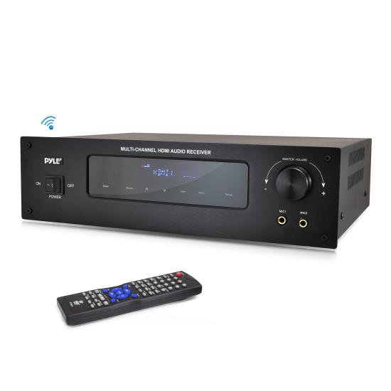 Pyle - PT592A , Sound and Recording , Amplifiers - Receivers , Bluetooth 5.1 Channel HDMI Digital Stereo Receiver Amplifier with AM/FM Radio, 4 HDMI Inputs, 2 Mic Inputs, 300 Watt Output