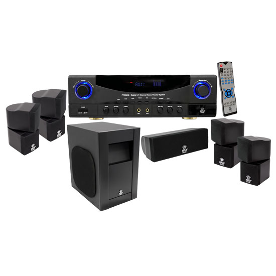 Pyle - PT598AS , Sound and Recording , SoundBars - Home Theater , Sound and Recording , Amplifiers - Receivers , 5.1 Channel 350 Watt Digital Home Theater AM/FM Receiver Surround Sound Package w/ Subwoofer/Center Channel & 4 x Two Way Directional Satellite speakers