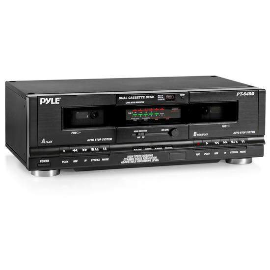 Pyle - PT649D , Sound and Recording , Digital Tuners - Speaker Selectors , Dual Cassette Deck - Double Cassette Tape System for Audio Mixtape Recording, CrO2 Tape Selector, High-Speed Dubbing, Rack Mount