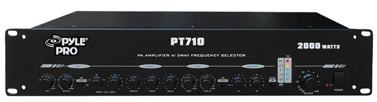 Pyle - PT710 , Sound and Recording , Amplifiers - Receivers , 19'' Rack Mount 2000 Watt PA Amplifier with 3 Way Frequency Selectors
