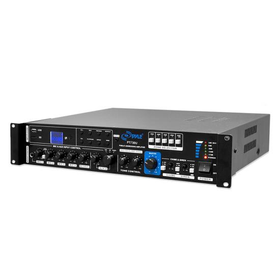 Pyle - PT730U , Home Audio / Video , Amplifiers , 375 Watt PA Amplifier with 5 Mic Inputs, Mic Talk-Over Function, USB & Micro SD Card Readers, AUX Input & 4 Ohm, 8 Ohm, 70V, 100V Outputs