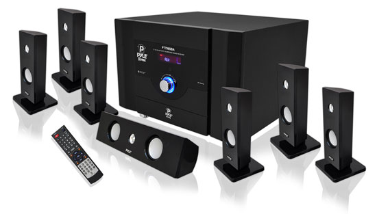 Pyle - PT798SBA , Home Audio / Video , Home Theater Systems , 7.1 Channel Home Theater System with Satellite Speakers, Center Channel, Subwoofer, Bluetooth, FM Tuner
