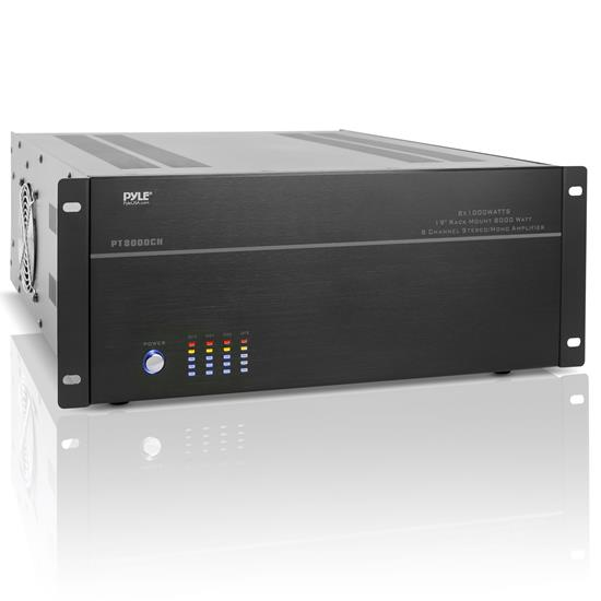 Pyle - PT8000CH , On the Road , Vehicle Amplifiers , 19'' Rack Mount 8000 Watt 8 Channel Stereo/Mono Amplifier