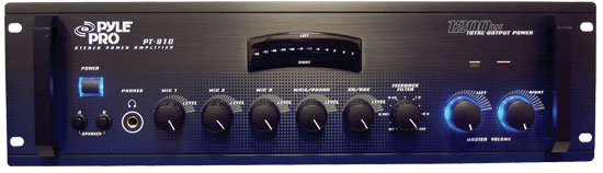 Pyle - PT910 , DJ Equipment , Power Amplifiers , 19'' Rack Mount 1200 Watt Stereo Power Amplifier/Mixer w/ 70V Output
