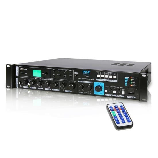 Pyle - PT930U , Sound and Recording , Amplifiers - Receivers , 750 Watt PA Amplifier with 5 Mic Inputs, Mic Talk-Over Function, USB Flash & Micro SD Card Readers, AUX Input & 4 Ohm, 8 Ohm, 70V, 100V Outputs