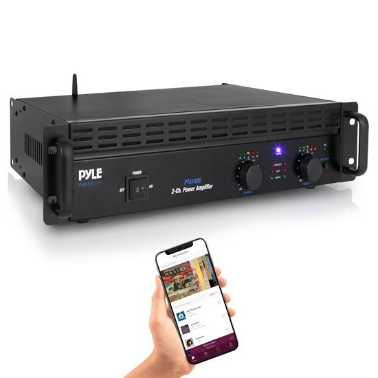 Pyle - PTA1000 , Sound and Recording , Amplifiers - Receivers , Bluetooth Professional Power Amplifier - 2-Channel Rack Mount Bridgeable Pro Audio Amp (1000 Watt)