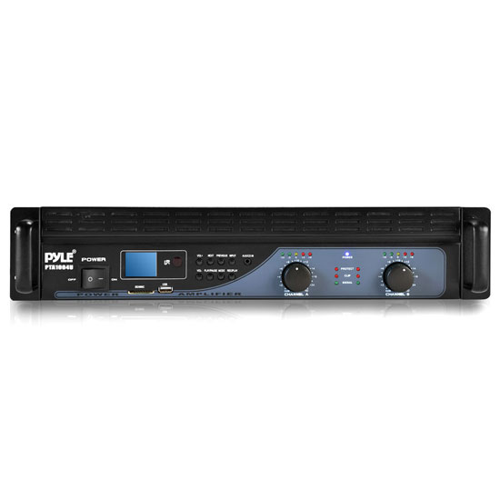 Pyle - PTA1004U , DJ Equipment , Power Amplifiers , 1000 Watt Power Amplifier With USB/SD Readers, LCD Digital Display w/ Built-in Crossover