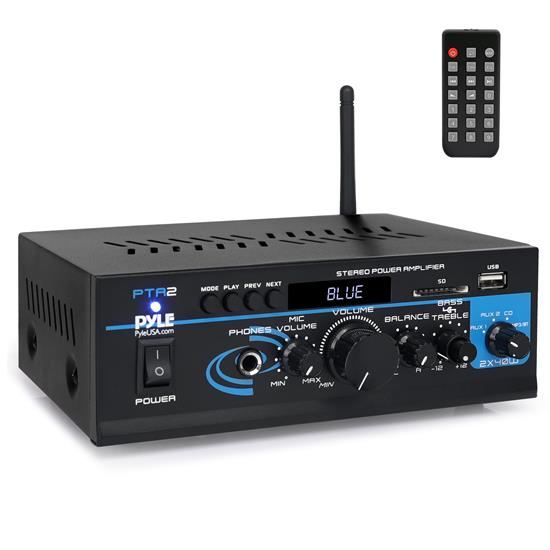 Pyle - PTA2 , Home Audio / Video , Amplifiers , Mini Stereo Power Amplifier - 2 x 40 Watt with AUX, CD & Mic Inputs