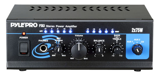 Pyle - PTA3 , Sound and Recording , Amplifiers - Receivers , Mini 2x75w Stereo Power Amplifier