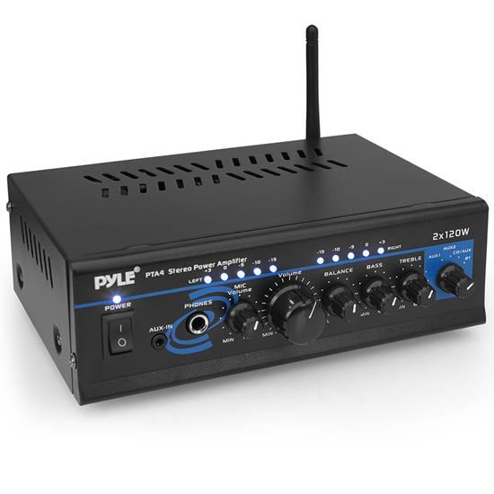 Pyle - pta4 , Sound and Recording , Amplifiers - Receivers , Compact Wireless BT 2-Channel Mini Stereo Power Amplifier - 2 x 120 Watt with AUX, CD & Mic Inputs