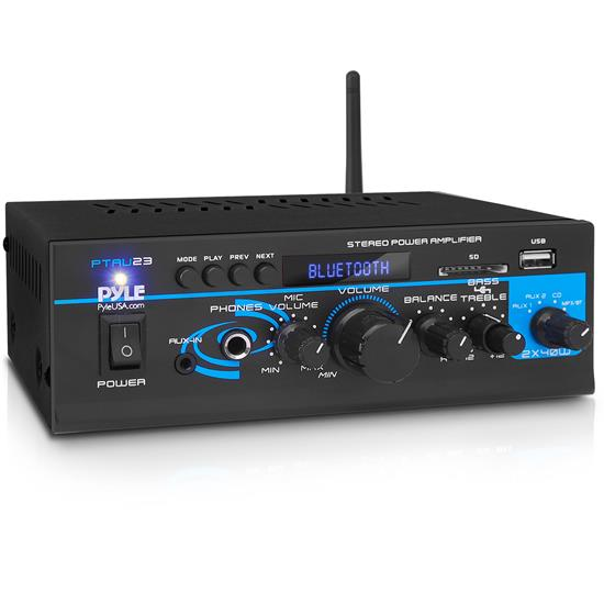 Pyle - PTAU23 , Home Audio / Video , Amplifiers , Mini Stereo Power Amplifier - 2 x 40 Watt with USB, AUX, CD & Mic Inputs
