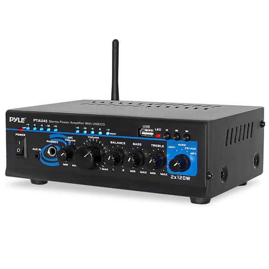 Pyle - PTAU45 , Sound and Recording , Amplifiers - Receivers , Stereo Power Amplifier - Compact Audio Amp with Microphone Input, MP3/USB Reader (2 x 120 Watt)
