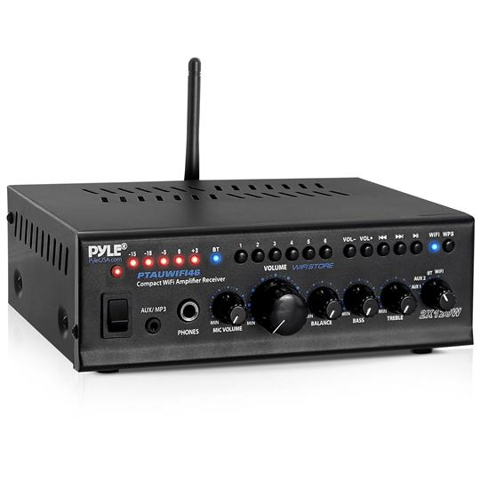 Pyle - UPTAUWIFI46 , Sound and Recording , Amplifiers - Receivers , Compact WiFi Amplifier Receiver, Wireless Music Streaming Amp System with Mic Paging/Mixing, 240 Watt