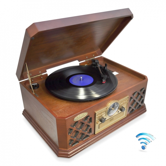 Pyle - PTCD4BT , Musical Instruments , Turntables - Phonographs , Sound and Recording , Turntables - Phonographs , Bluetooth Wireless Streaming Classic Retro Style Record Player Turntable with CD Player, Cassette Deck, AM/FM Radio, Headphone Jack & Built-in Speakers