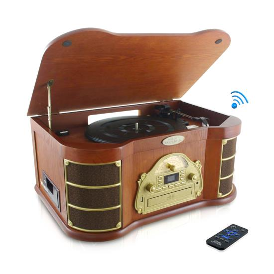 Pyle - PTCD54UB , Musical Instruments , Turntables - Phonographs , Sound and Recording , Turntables - Phonographs , Bluetooth Vintage Classic-Style Turntable Speaker System with CD & Cassette Players, Vinyl-to-MP3 Recording, MP3/USB Reader, AM/FM Radio