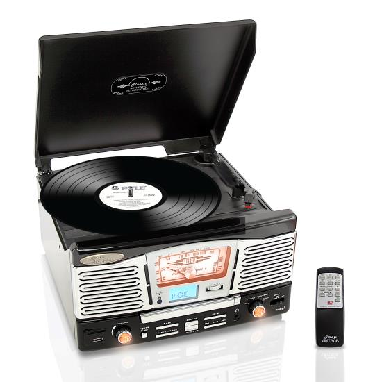 Pyle - PTCD8UB , Musical Instruments , Turntables - Phonographs , Sound and Recording , Turntables - Phonographs , Retro Style Turntable Plays AM/FM Radio, MP3/WMA via USB/SD Card Readers, and Vinyl-to-MP3 Encoding Function (Black)