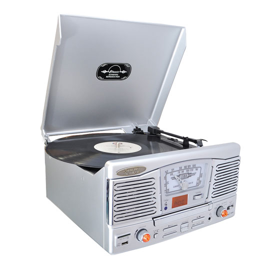 Pyle - PTCD8US , Musical Instruments , Turntables - Phonographs , Sound and Recording , Turntables - Phonographs , Retro Style Turntable With Radio/USB/SD/MP3/WMA and Vinyl to MP3 Encoding (Silver)