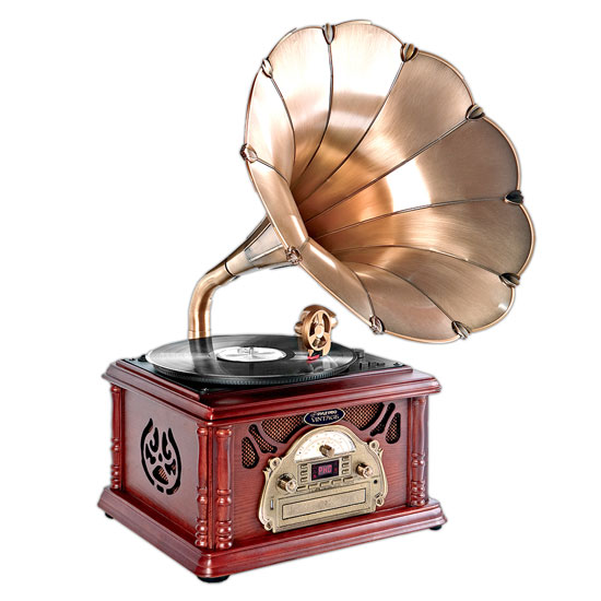 Pyle - PTCDCS3UIP , Home Audio / Video , Home Turntables , Classical Trumpet Horn Turntable/Phonograph with AM/FM Radio CD/Cassette/USB Players & Direct to USB Recording