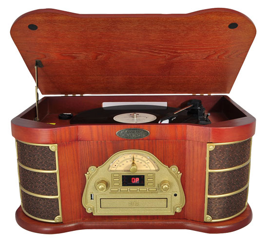 Pyle - PTCDS1U , Musical Instruments , Turntables - Phonographs , Sound and Recording , Turntables - Phonographs , Classical Turntable with AM/FM Radio Cassette & USB Recording