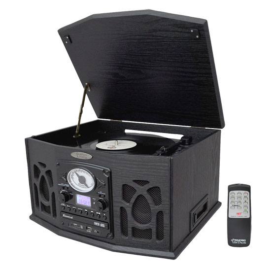 Pyle - PTCDS5U , DJ Equipment , Turntables , Vintage Turntable With CD/Cassette/Radio/Aux-In/USB/SD/MP3 and Vinyl-to-MP3 Encoding