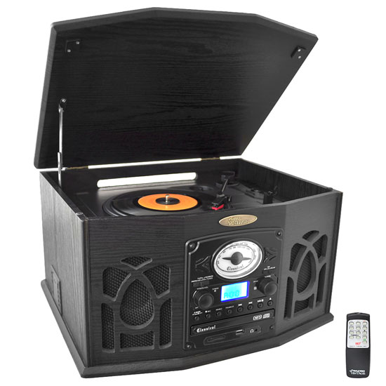 Pyle - PTCDS7UIB , Musical Instruments , Turntables - Phonographs , Sound and Recording , Turntables - Phonographs , Retro Vintage Turntable System with Built-in Speakers - Plays AM/FM Radio, CD, Cassette & MP3s - USB Card & SD Memory Slots, Vinyl-to-MP3 Encoding & Built-in Slide-Out iPod/MP3 Player Compartment (Black)