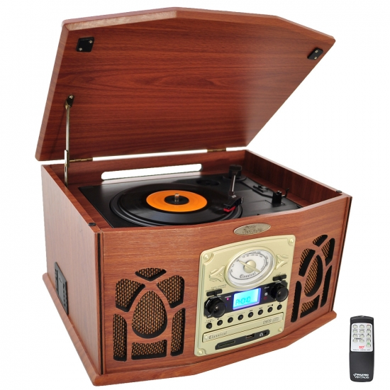 Pyle - PTCDS7UIW , Home Audio / Video , Home Turntables , Retro Vintage Turntable System with Built-in Speakers -  Plays AM/FM Radio, CD, Cassette & MP3s - USB Card & SD Memory Slots, Vinyl-to-MP3 Encoding & Built-in Slide-Out iPod/MP3 Player Compartment (Wood Finish)