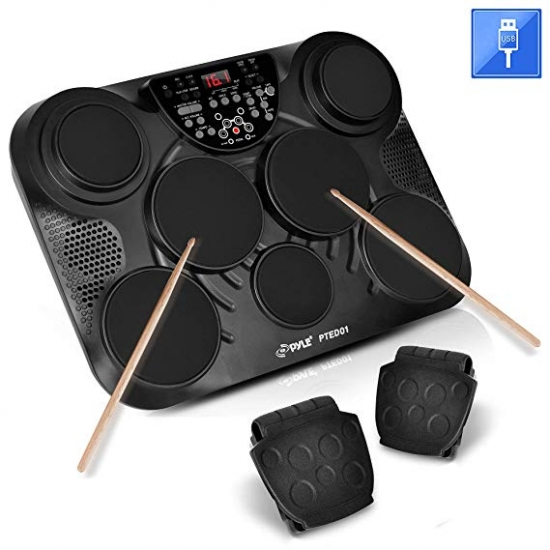 Pyle - PTED01 , Musical Instruments , Drum Kits , Electronic Table Digital Drum Kit Top w/ 7 Pad Digital Drum Kit