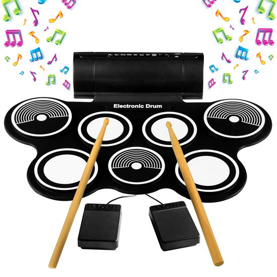 Pyle - AZPTEDRL14 , Musical Instruments , Drums , Electronic Drum Kit - Compact Drumming Machine, MIDI Computer Connection, Quick Setup Roll-Up Design (Mac & PC Compatible)