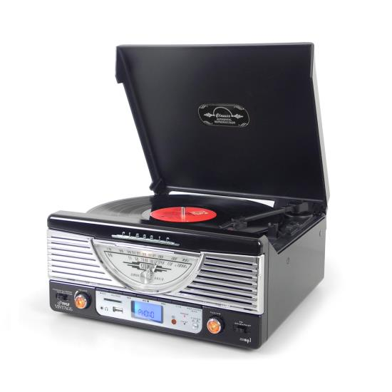 Pyle - PTR8UB , Musical Instruments , Turntables - Phonographs , Sound and Recording , Turntables - Phonographs , Retro Turntable with Vinyl-to-MP3 Encoding, USB & SD Memory Card Readers, AM/FM Radio, Aux (3.5mm) Input, MP3 Digital Audio File Playback (Black)