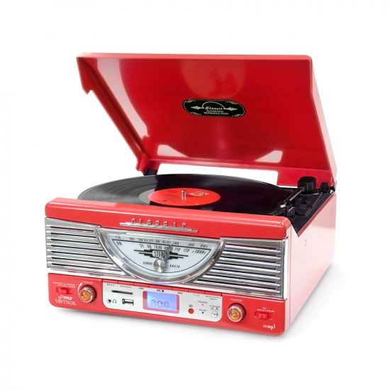 Pyle - PTR8UR , Musical Instruments , Turntables - Phonographs , Sound and Recording , Turntables - Phonographs , Retro-Style Turntable - Plays Radio, MP3s via USB & SD Memory with Vinyl-to-MP3 Encoding (Red)