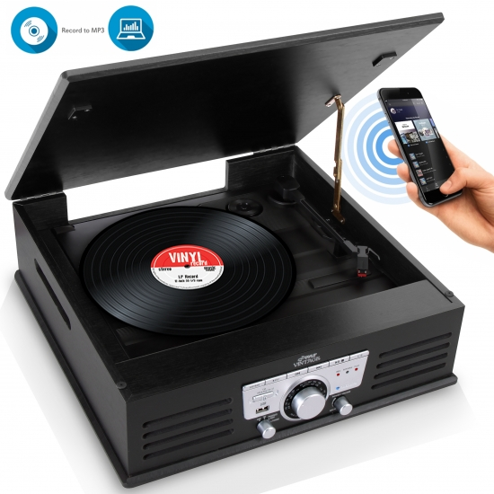 Pyle - PTT25UBT , Musical Instruments , Turntables - Phonographs , Sound and Recording , Turntables - Phonographs , Bluetooth Classic Vintage Style Record Player Turntable Phonograph with Vinyl to MP3 Recording, USB Flash Reader, AM/FM Radio, Aux (3.5mm) Input, Built-in Speakers