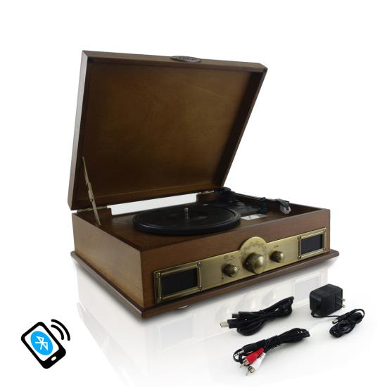 Pyle - PTT30WD , Musical Instruments , Turntables - Phonographs , Sound and Recording , Turntables - Phonographs , Retro Vintage Classic Style Bluetooth Turntable Vinyl Record Player with Recording Ability, AM/FM Radio