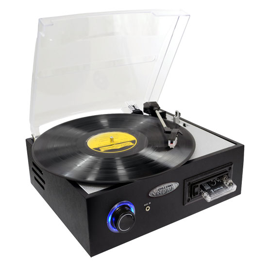 Pyle - PTTC4U , Musical Instruments , Turntables - Phonographs , Sound and Recording , Turntables - Phonographs , Multifunction Turntable With MP3 Recording, USB-to-PC Connection, Cassette Tape Playback, Rechargeable Battery