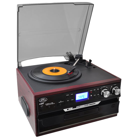 Pyle - PTTCDS7U , DJ Equipment , Turntables , Vintage Styled Turntable - Plays AM/FM Radio, Cassettes, CDs, and MP3s - USB/SD Direct Record and Aux Input For iPod/MP3 Players (Mahogany)