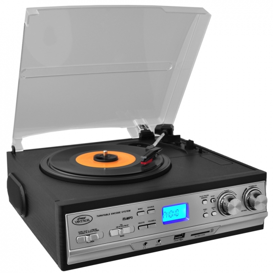 Pyle - PTTCS9U , DJ Equipment , Turntables , Classic Retro Style Turntable - Plays AM/FM Radio, Cassettes & MP3s - USB/SD Direct Record Function & Aux Input For iPod/MP3 Players