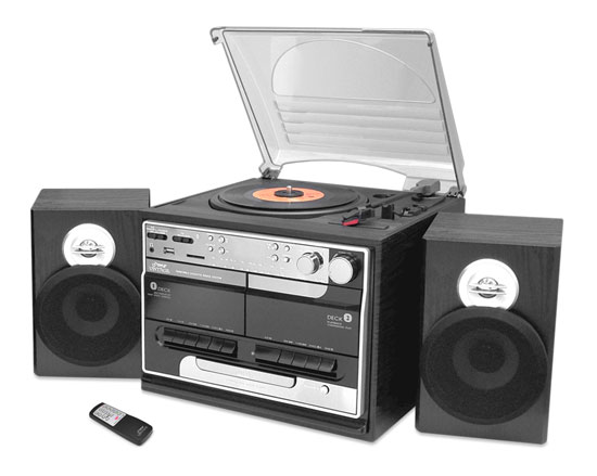 Pyle - PTTCSM70BT , Musical Instruments , Turntables - Phonographs , Sound and Recording , Turntables - Phonographs , Retro Vintage Bluetooth Wireless Streaming Turntable & Speaker System with Vinyl to USB Recording, Dual Cassette Decks, CD Player, AM/FM Radio, AUX In, Line Out, USB & SD Card Readers