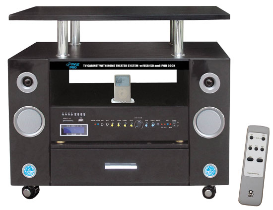 Pyle - PTVC321 , Home Audio / Video , Home Theater Systems , LCD TV Cabinet Dual Channel Home Theater System W/ iPod Docking Station & USB Fits Up to 32'' Monitor