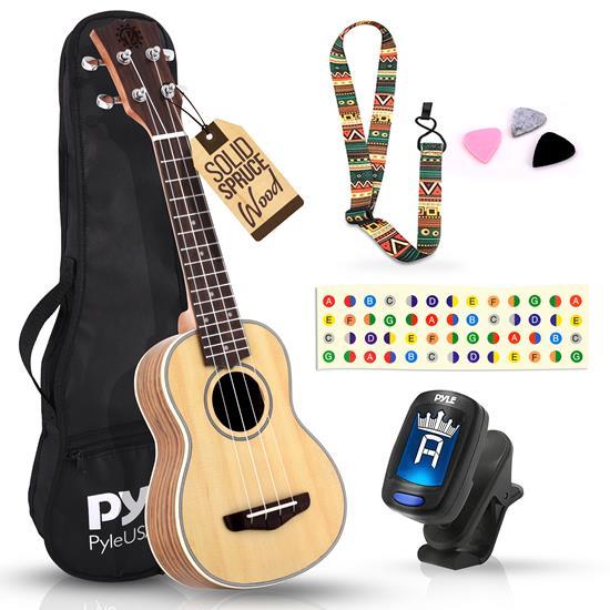Pyle - PUKT6580 , Misc , 21'' Inch Wooden Soprano Ukulele Kit - Traditional 4-String Ukulele with Handy Digital Tuner, Strap, Finger Guide, 3 Spare Picks & Gig Bag