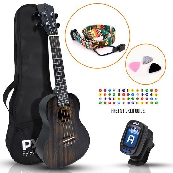 Pyle - PUKT8880 , Musical Instruments , 23'' Inch Wooden Concert Ukulele Kit - Traditional 4-String Ukulele with Handy Digital Tuner, Strap, Finger Guide, 3 Spare Picks & Gig Bag