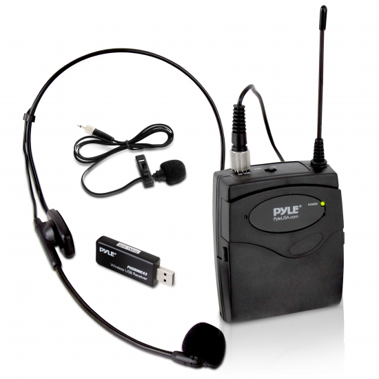 Pyle - UPUSBMIC43 , Musical Instruments , Microphones - Headsets , Sound and Recording , Microphones - Headsets , Belt Pack Microphone System with Wireless USB Receiver, Headset Mic & Lavalier Mic
