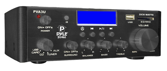 Pyle - PVA3U , Home Audio / Video , Amplifiers , 60 Watts/ Hi-Fi Mini Amplifier USB/SD Card Player