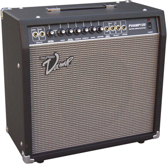 Pyle - PVAMP120 , DJ Equipment , Guitar Amplifiers , 120 Watt Vamp-Series Amplifier With 3-Band EQ, Overdrive, And Effects Loop