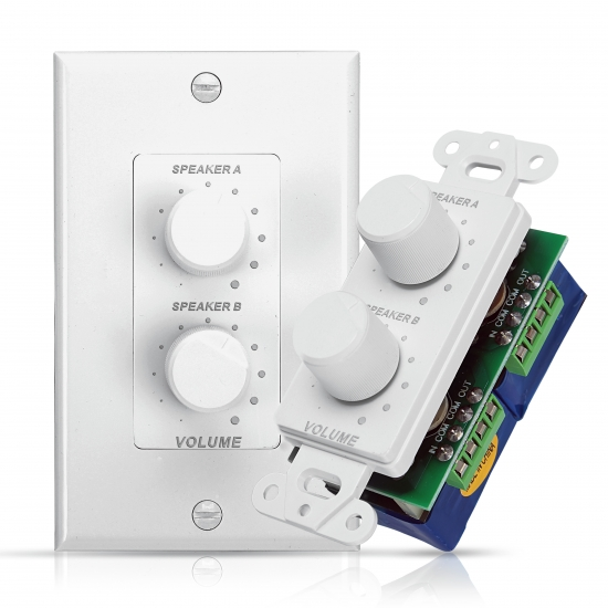 Pyle - PVCD15 , Home and Office , Wall Plates - In-Wall Control , In-Wall Right and Left Speaker Dual Knob Independent Volume Control Plate