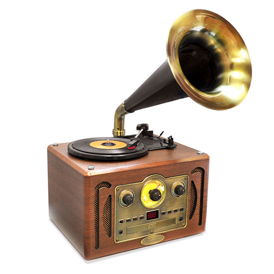 Pyle - PVNP30BT , Musical Instruments , Turntables - Phonographs , Sound and Recording , Turntables - Phonographs , Vintage Classic Style Turntable Horn Phonograph with Bluetooth, AM/FM Radio, CD Player & USB Reader